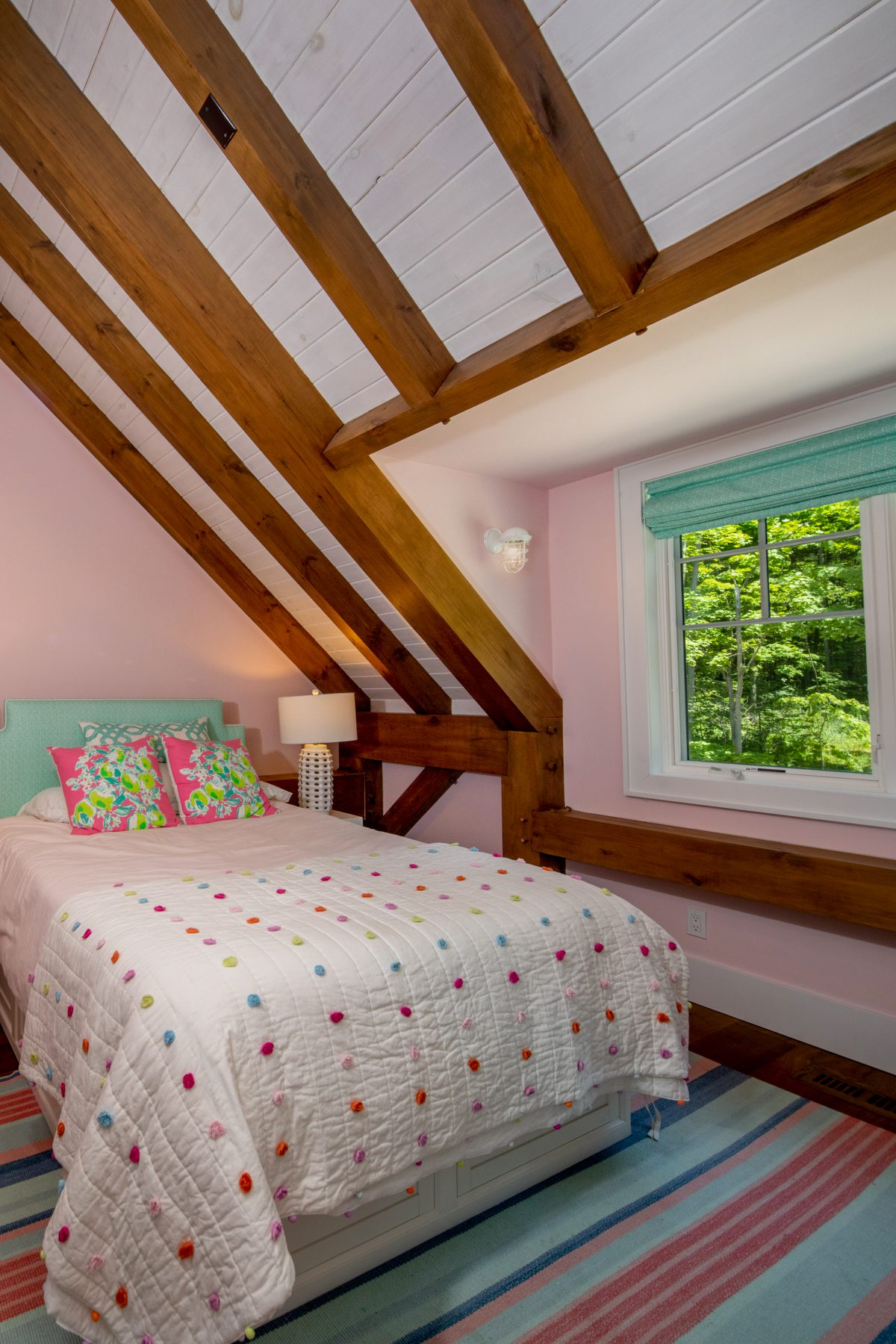 Normerica-Timber-Homes-Timber-Frame-Portfolio-Beachside-Bliss-Interior-Girl-Bedroom-Forest-View