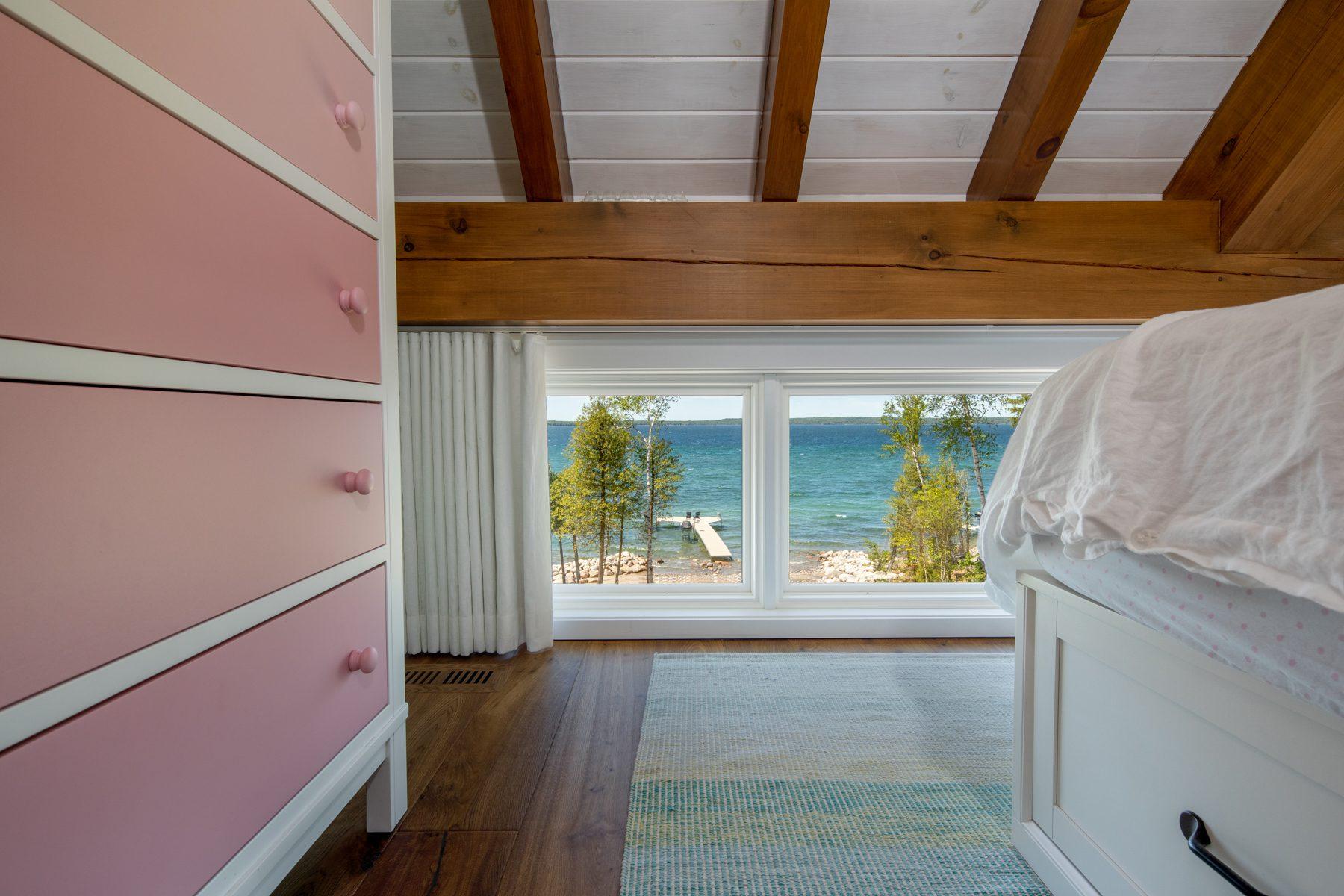 Normerica-Timber-Homes-Timber-Frame-Portfolio-Beachside-Bliss-Interior-Girl-Bedroom-Loft-Windows-in-Eaves