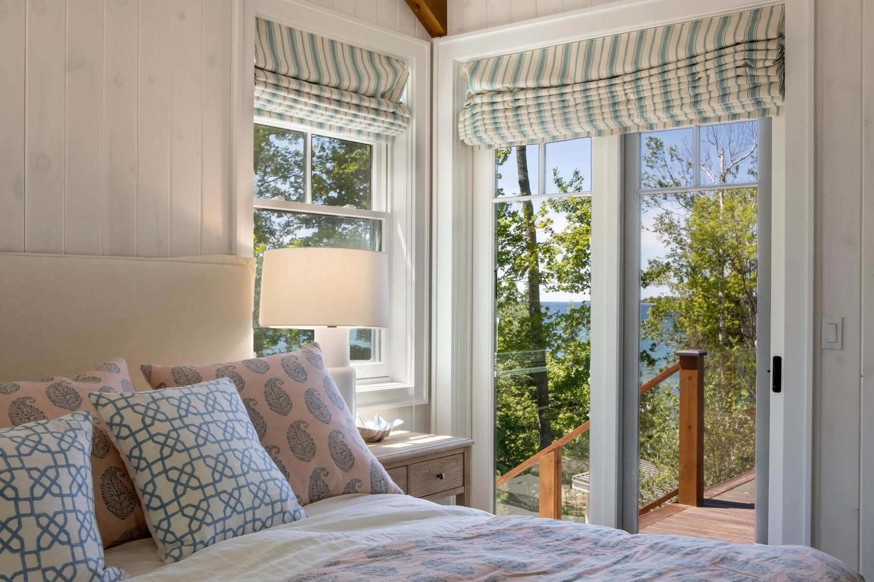 Normerica-Timber-Homes-Timber-Frame-Portfolio-Beachside-Bliss-Interior-Master-Bedroom-View-Door-to-Deck