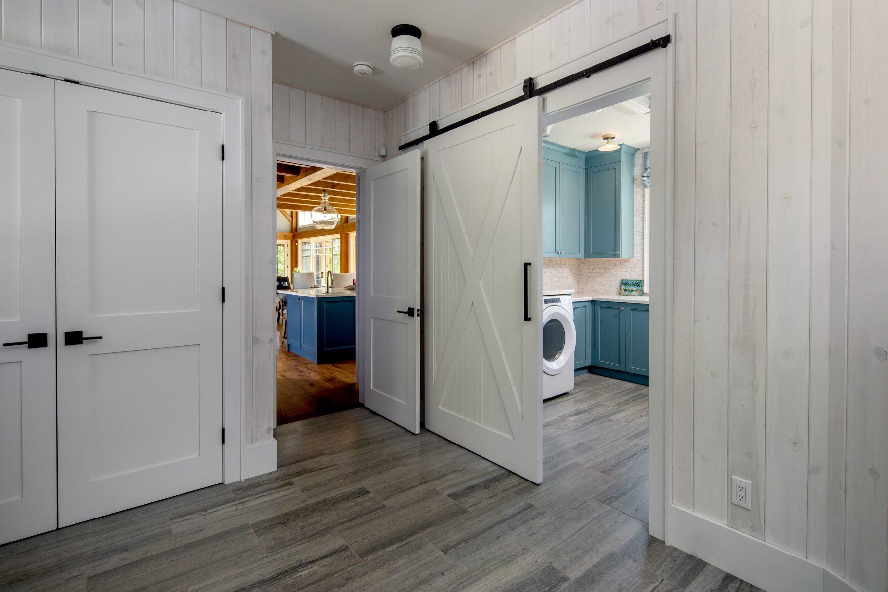 Normerica-Timber-Homes-Timber-Frame-Portfolio-Beachside-Bliss-Interior-Mudroom-Main-Floor-Laundry-Room