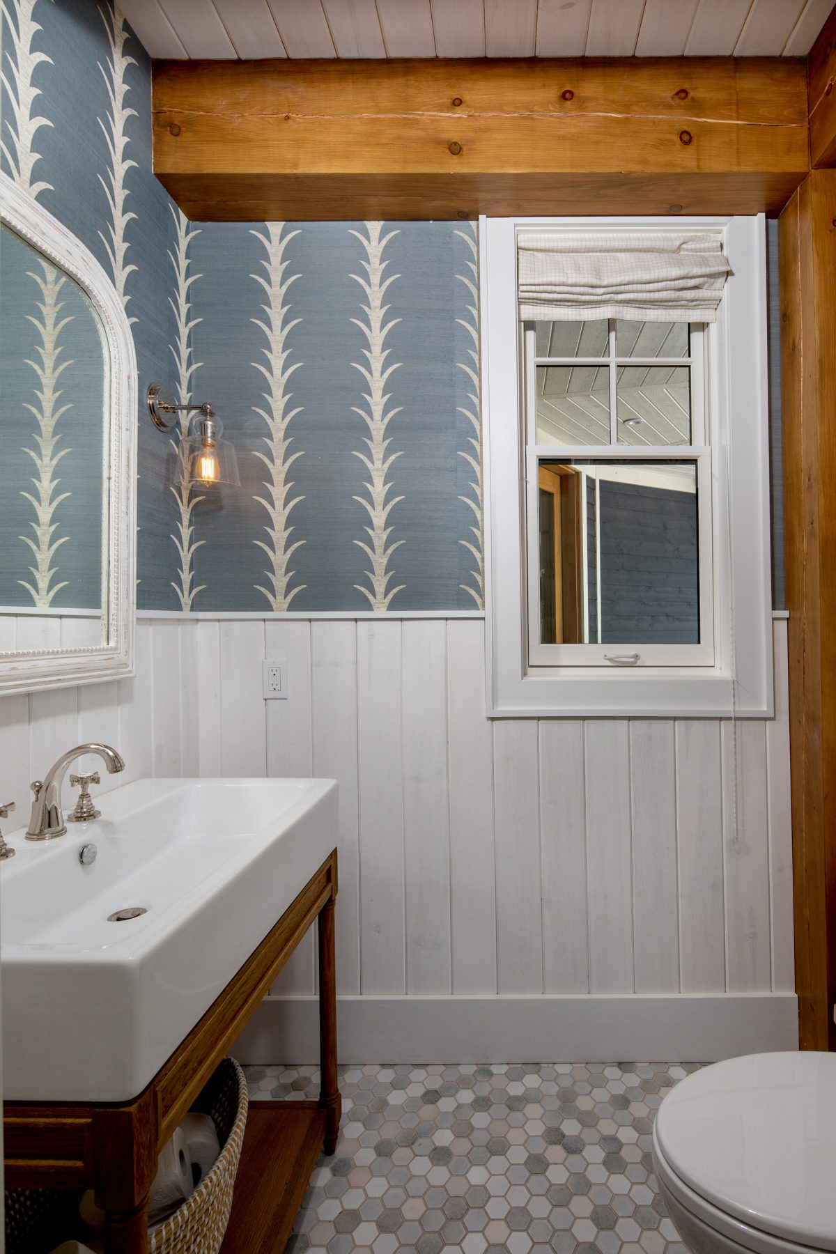 Normerica-Timber-Homes-Timber-Frame-Portfolio-Beachside-Bliss-Interior-Timbers-in-Powder-Room
